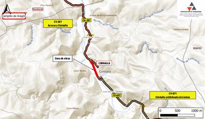 La carretera de acceso a Cimballa se cortará al tráfico mañana martes y pasado miércoles por unas obras de drenaje transversal