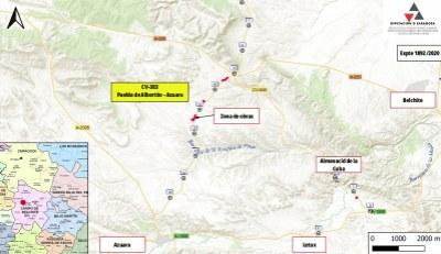 La carretera que conecta La Puebla de Albortón y Azuara se cortará al tráfico mañana lunes por obras de refuerzo del firme
