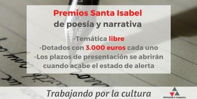 La Diputación de Zaragoza convoca la  XXX edición de sus premios Santa Isabel  de poesía y narrativa
