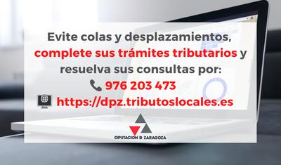 La Diputación de Zaragoza recuerda a los ciudadanos que pueden realizar sus trámites tributarios por teléfono o internet