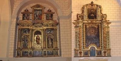 La Diputación de Zaragoza restaura el retablo de la Virgen del Carmen y el de la del Rosario de la iglesia parroquial de Monterde