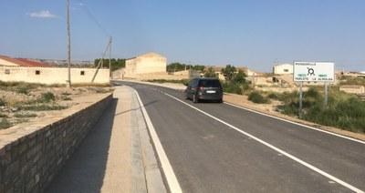 La Diputación de Zaragoza termina la primera fase del arreglo de la carretera provincial que conecta Monegrillo con Osera, la CV-8