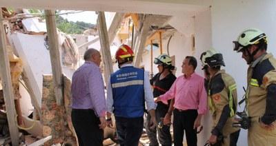 Sánchez Quero visita Nuévalos tras el derrumbe de una vivienda que ha causado dos heridos graves